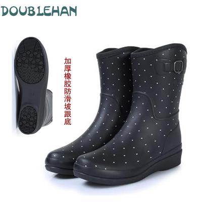 DOUBLEHAN 新款秋冬加绵保暖休闲时尚女士轻便舒适雨鞋水鞋橡胶鞋