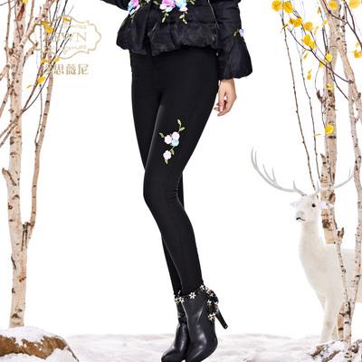 2018秋冬新款女装黑色打底裤加绒加厚长裤立体花朵装饰弹力小脚裤