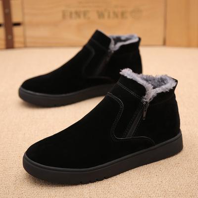 冬季雪地靴男士短靴加绒保暖棉靴皮靴防水防滑男靴子百搭中帮男鞋