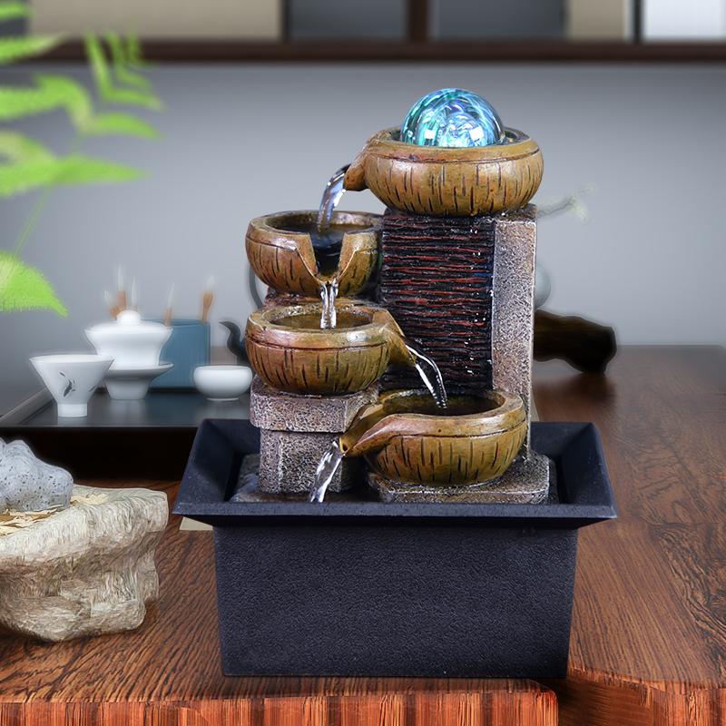 欧式喷泉流水客厅桌面创意家居装饰品电视柜摆件玄关招财礼品盆景