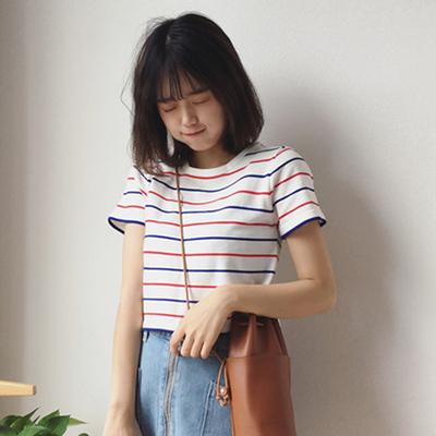 春夏女装韩国修身显瘦短款条纹短袖t恤露脐打底衫上衣学生体恤潮