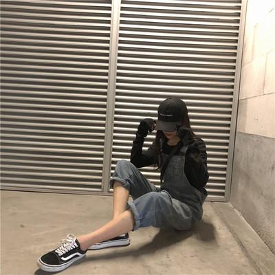 2018新款韩版宽松显瘦复古勾勾背带裤网红同款ins破洞牛仔连体裤
