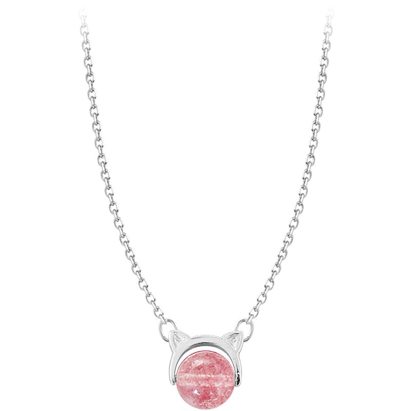 @小麋人 日系猫咪可爱小猫草莓粉色圆珠水晶S925纯银项链锁骨女款