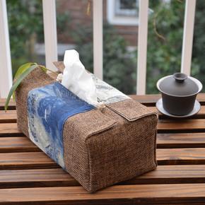 复古布艺抽纸盒装 客厅古典中式大号硬盒纸巾盒茶艺纯手工缝制