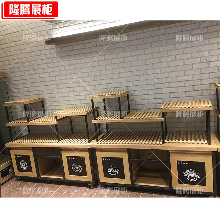 面包中岛柜展示架弧形玻璃展示柜不锈钢礼品架中岛柜蛋糕柜货架