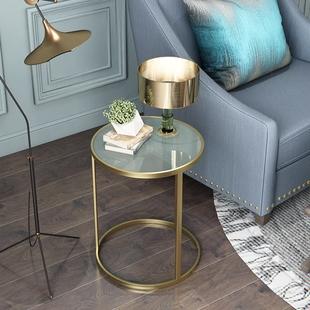 简约北欧风轻奢玻璃边几客厅茶几阳台大理石小圆桌卧室床头置物桌