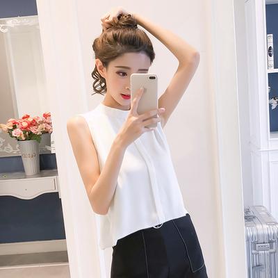 2018夏季新款韩版百搭雪纺衫纯色挂脖衬衫女无袖露肩宽松洋气上衣