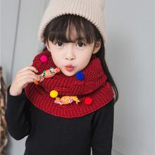 儿童百搭装 韩版 饰中幼童围巾小孩保暖毛线男女童脖套 冬季围脖时尚