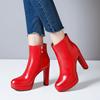 红色防水台短靴