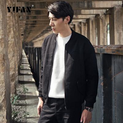 毛呢外套韩版chic立领羊毛呢子大衣短款青年棒球领夹克棒球服男装