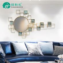 饰品创意 酒店客厅沙发背景墙上铁艺壁挂圆镜金属壁饰墙饰立体装
