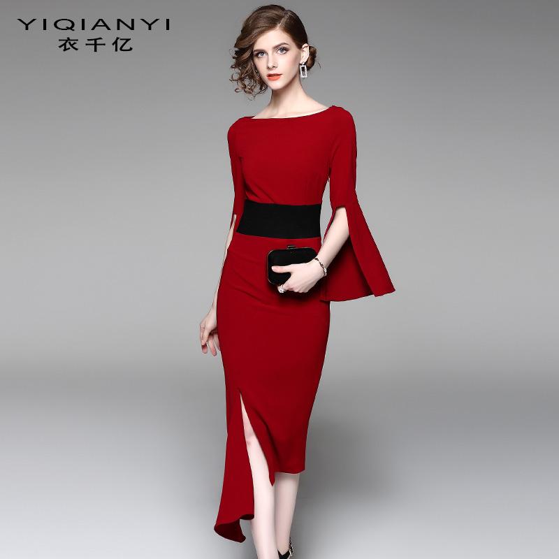 衣千亿 2017秋季新款不规则连衣裙收腰修身气质红色中长款裙女装