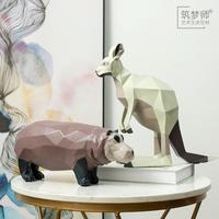 筑梦师旗舰店 北欧风格创意彩绘袋鼠摆件家居装饰品客厅玄关书房