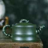 Craftsman's teapot, all handmade masterpieces, the collection of green mud bamboo pots, has a certificate