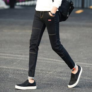夏季黑色弹力九分牛仔裤男士韩版修身小脚裤潮男装薄款男式男裤子