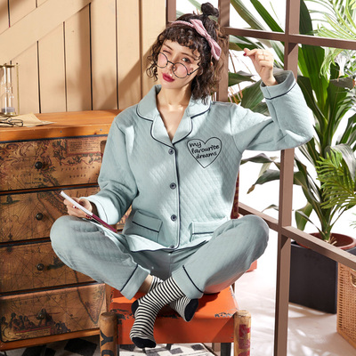 秋冬季睡衣女夹棉冬纯棉夹层薄款妈妈款加厚空气棉冬天家居服套装