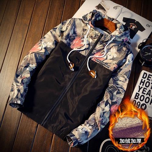 秋冬男士加绒加厚棉衣服韩版修身连帽夹克保暖棒球服潮男青年外套