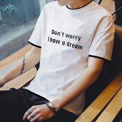 夏季2019新款短袖男士T恤假两件印花体恤韩版半袖上衣服打底衫tee