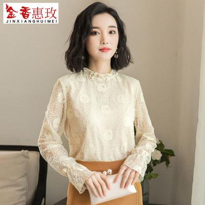 蕾丝雪纺衫女长袖2018秋季新品韩版修身显瘦时尚立领镂空上衣小衫
