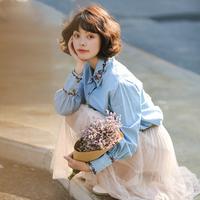 慕兔花朵刺绣衬衫女2018春季新款甜美小清新百搭牛仔衬衣女上衣