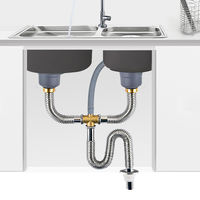Wash basin under water pipe fittings kitchen sink drain pipe sink double tank water set stainless steel pipe