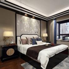 新中式床现代白蜡木实木床1.8米布艺软靠婚床酒店样板房卧室家具