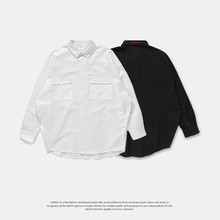 OVERSIZE Loose Shirt Long Sleeve Men's Autumn Simple Pure-color Shirt with Chao Brand High Street Arc Bottom in Europe and America