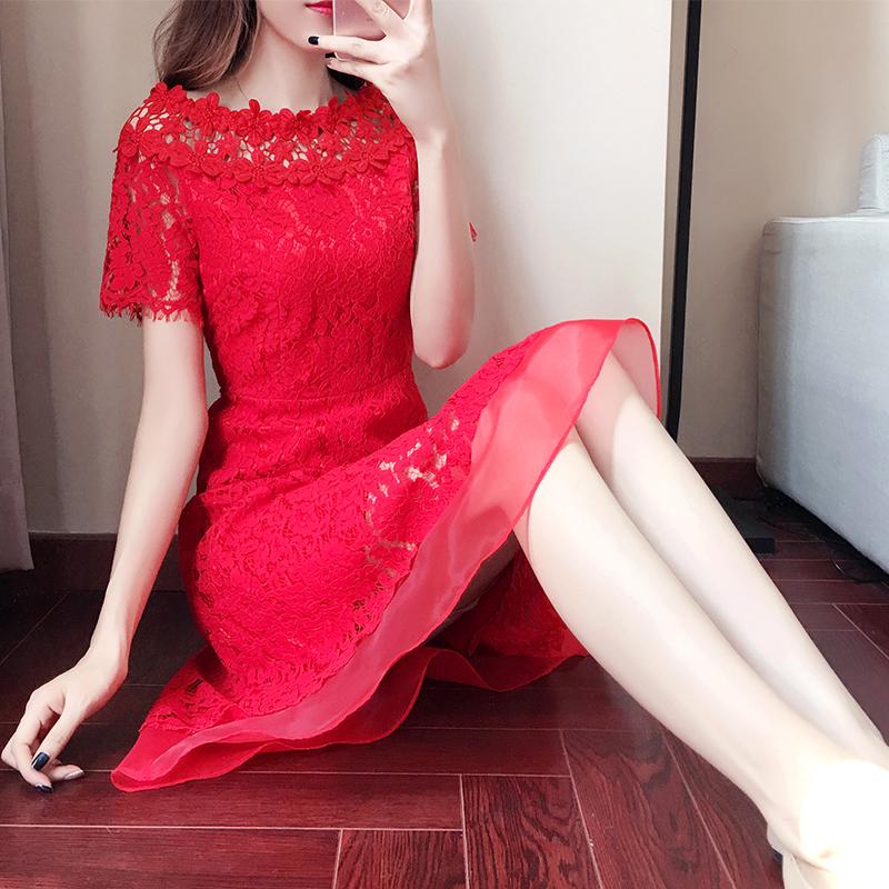 大红色裙子夏连衣裙