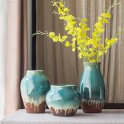 欧式现代地中海家居摆件 景德镇颜色釉陶瓷器花瓶三件套 客厅饰品