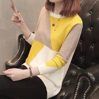 韩版撞色针织衫长袖套头毛衣女