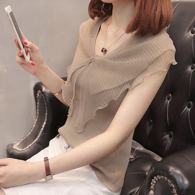 女夏季2018新款短袖蕾丝雪纺娃娃衫仙气质上衣韩版修身百搭针织衫