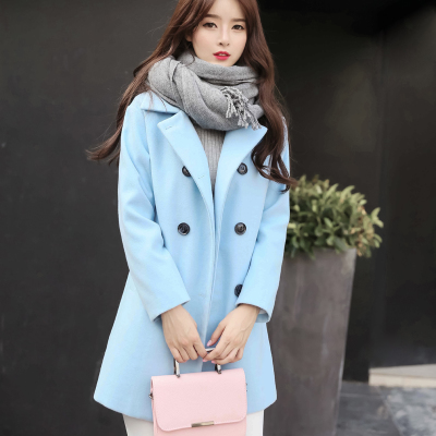 漫娜儿2018秋冬新款呢子大衣女装韩版修身显瘦中长款加厚毛呢外套