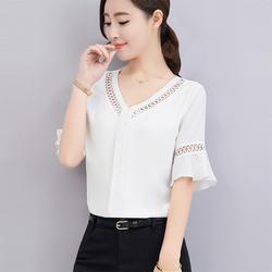 漫娜儿夏季新款纯色短袖荷叶袖甜美雪纺衫韩版宽松显瘦大码上衣女