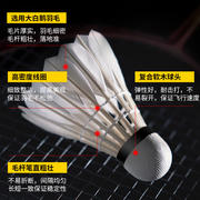 Kason KS15 badminton 12 packs resistant to fight bad indoor and outdoor goose feather training practice ball stability