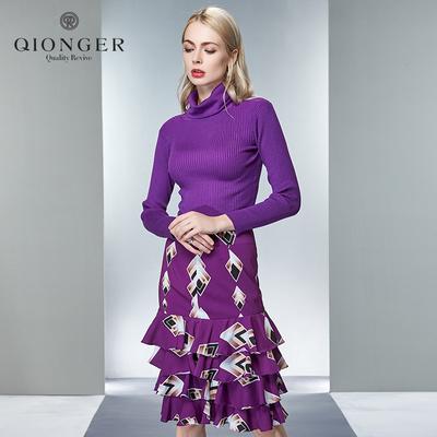 欧美时尚高领针织毛衣性感包臀蛋糕裙半裙套装
