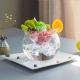 Creative Smoke Ice Cream Glass Bowl Artistic Cuisine Featured Salad Dessert Bowl Molecular Cuisine Gourmet Dry Ice Tableware
