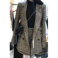 春秋冬季新款毛呢千鸟格西装外套女短款套装休闲小香风两件套西服