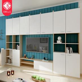 电视柜茶几组合套装现代简约背景墙柜北欧客厅定制家具小户型高柜