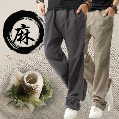 春夏季棉麻休闲裤男士宽松运动裤青年大码直筒裤亚麻裤薄款长裤潮