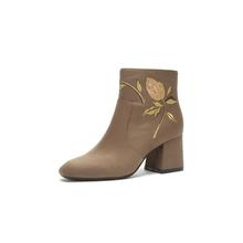 Daphne/达芙妮秋冬女短靴气质方头粗跟低跟绣花女短靴1017605244图片