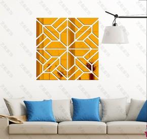 几何图案新款卧室客厅电视背景镜面墙贴 3D抽象镜子立体墙贴镜贴
