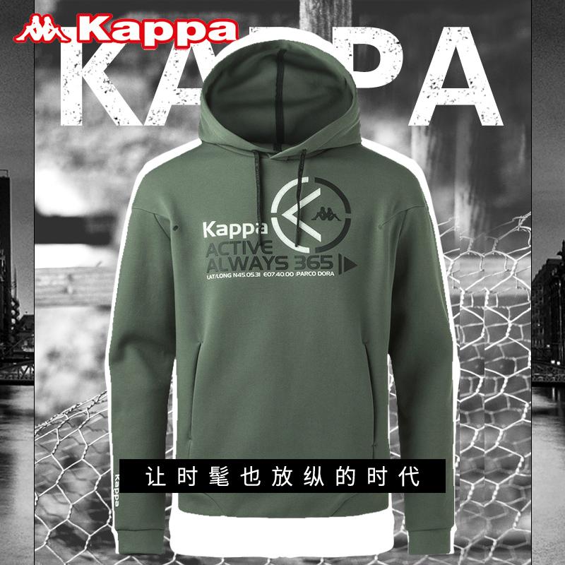 Kappa男装上衣外套2018年春季新款大码连帽卫衣运动服长袖套头衫