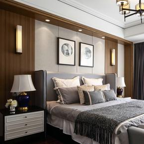 高档别墅样板房卧室家具定制 1.8m软包布艺床 现代简约双人床定制