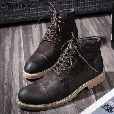 马丁靴男真皮磨砂男鞋韩版中帮短靴复古工装靴秋季高帮鞋高邦靴子