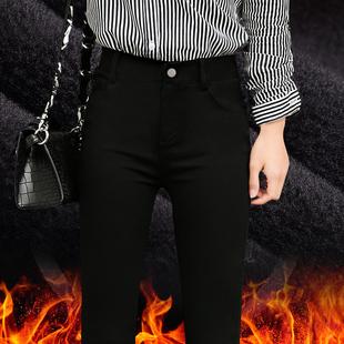 加绒加厚打底裤女外穿冬季2017新款保暖高腰棉裤黑色小脚铅笔女裤