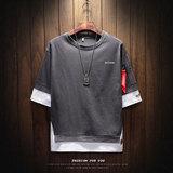 夏季男士短袖T恤韩版半袖五分袖假两件卫衣2018刺绣潮夏装衣服