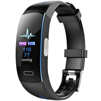 Ecg+ppg monitoring blood pressure heart rate alarm ECG heart beat pulse color screen smart bracelet sports health medical grade male watch female multi-function detector for millet 4 Huawei