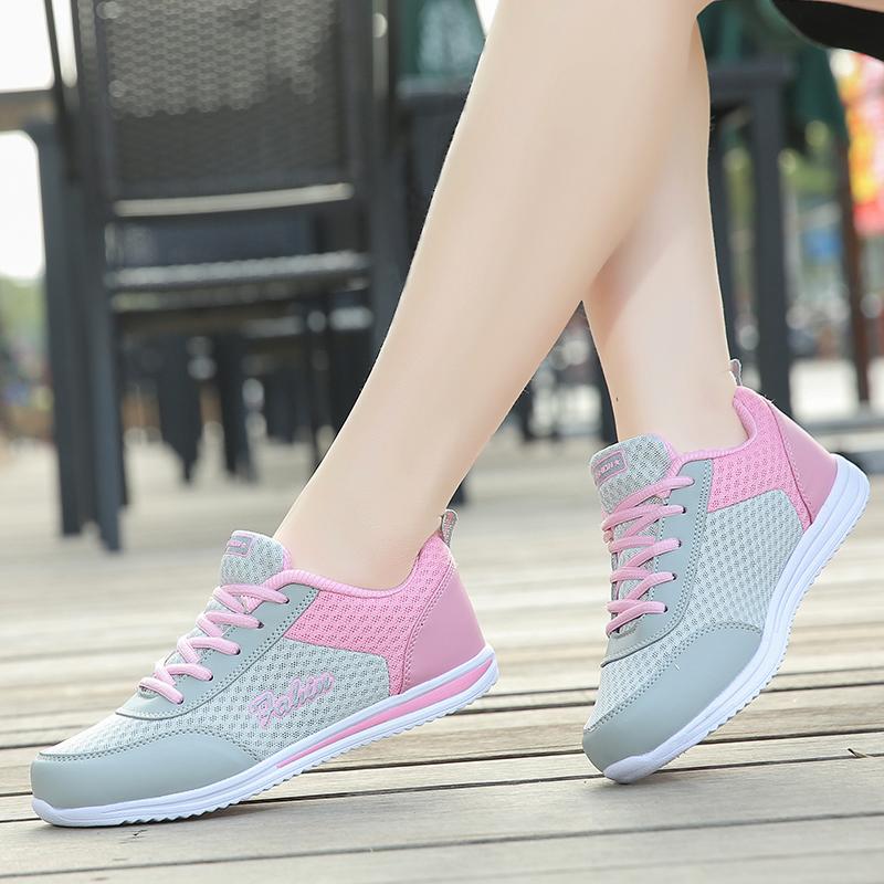 夏季网面透气女鞋韩版女士运动休闲鞋轻便网眼跑步鞋夏天旅游网鞋