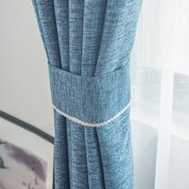 麻亚麻风窗帘2018新款麻布现代简约成品布料卧室遮光新纯色窗帘布