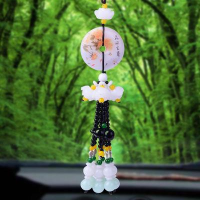 高档翡翠貔貅汽车挂件男女创意玉石扣个性包包挂饰保平安